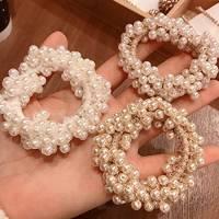 Runmi - Elastici elastici per capelli con perle, per coda di cavallo, accessori per capelli per donne e ragazze (confezione da 3)