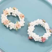 Generse - Elastico per capelli con perla, per coda di cavallo, con fiori rosa, accessori per capelli per donne e ragazze, confezione da 2