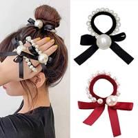 Generse - Elastico per capelli con perla, per capelli e capelli, per donne e ragazze, confezione da 2