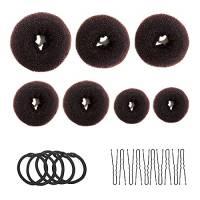 Creatore di ciambelle, 7 pezzi, marrone, a forma di anello, con 10 clip a forma di U, 5 corde elastiche per capelli.